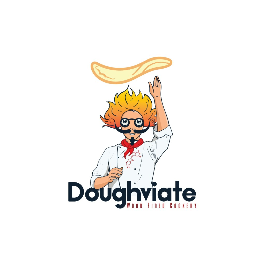 design a retro/ vintage logo for Doughology Wood Fired Cookery