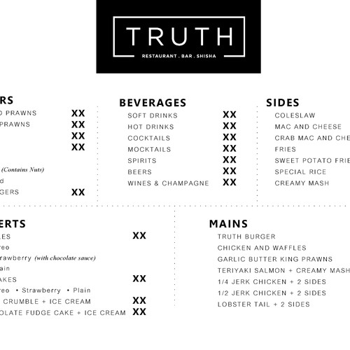 Menu design - Truth Restaurant