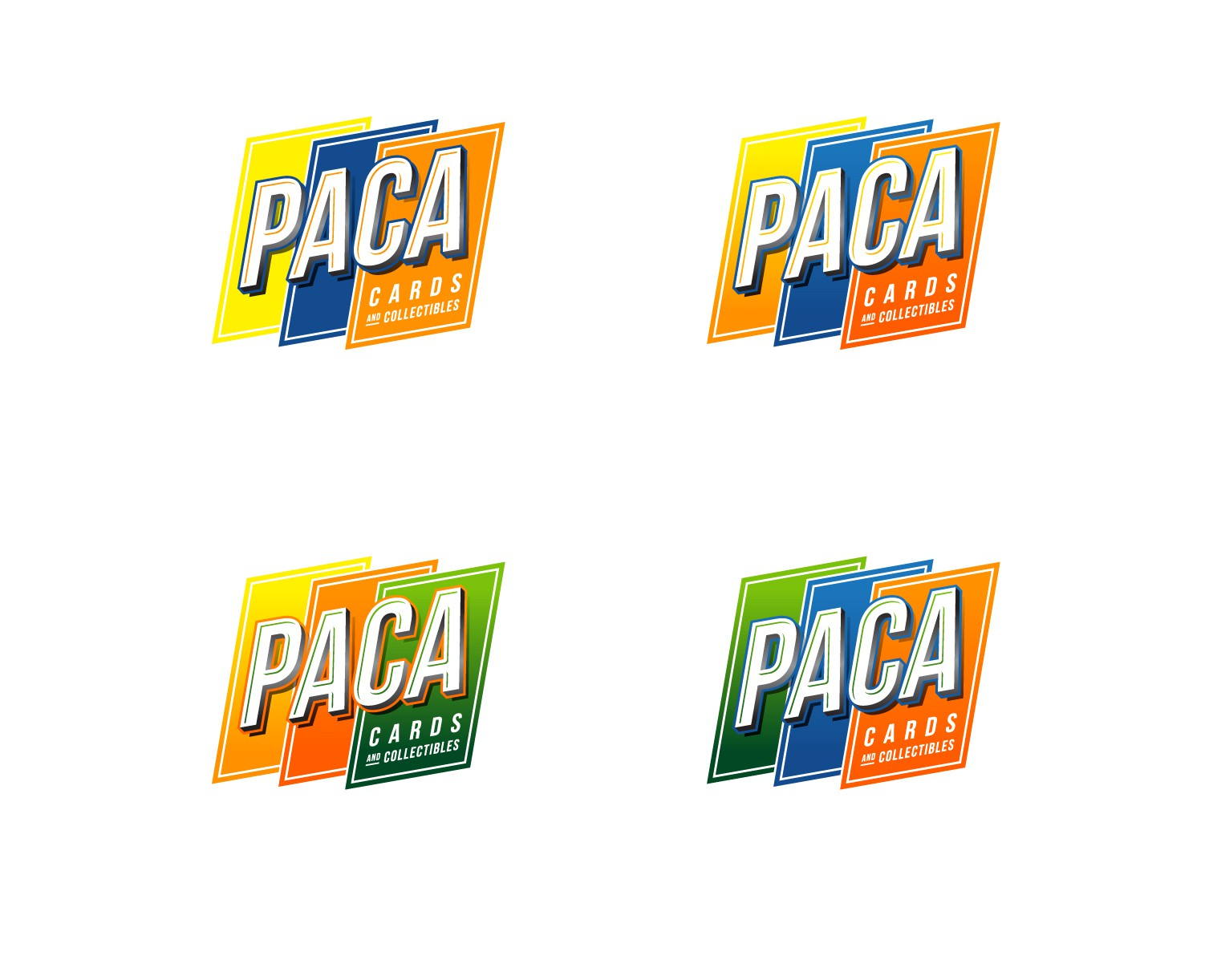 Create a logo for PACA Cards, an sports cards/memorabilia store