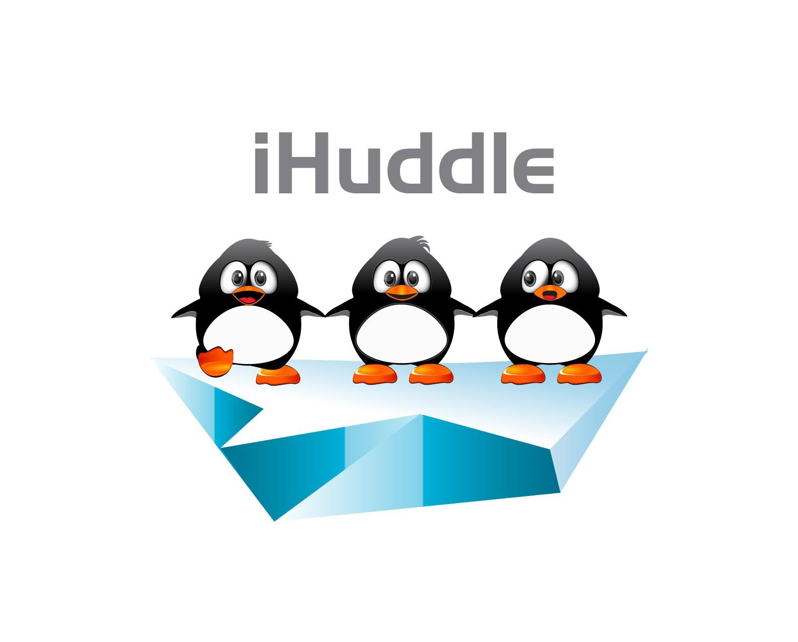 Logo of penguins huddling together for an awesome sports social network / mobile app