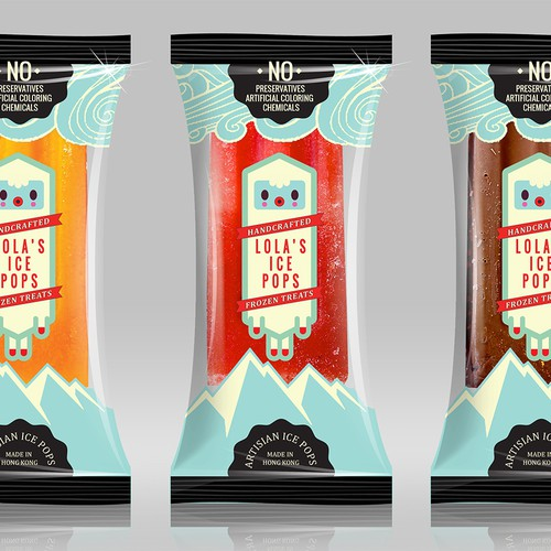 Create a fresh, stylish and modern popsicle bag design for Lola's Ice Pops in Hong Kong