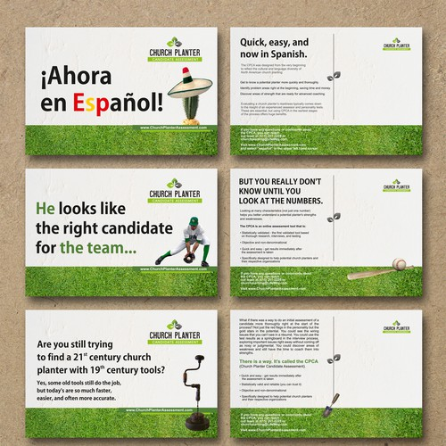 Looking for a 4 postcard campaign for an online assessment tool.