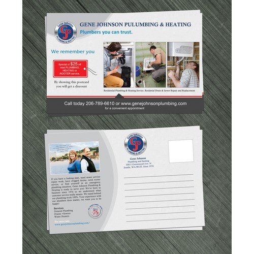 New postcard or flyer wanted for Gene Johnson Plumbing & Heating