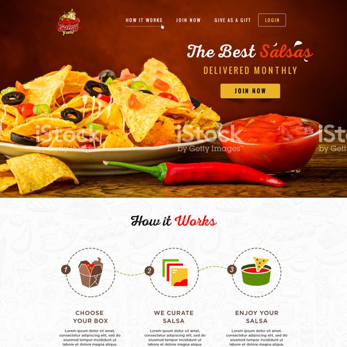 Landing page design for new subscription box company Salsa Yum
