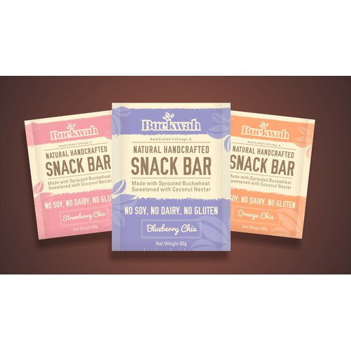 Create the first ever product package for Buckwah, a natural snack bar