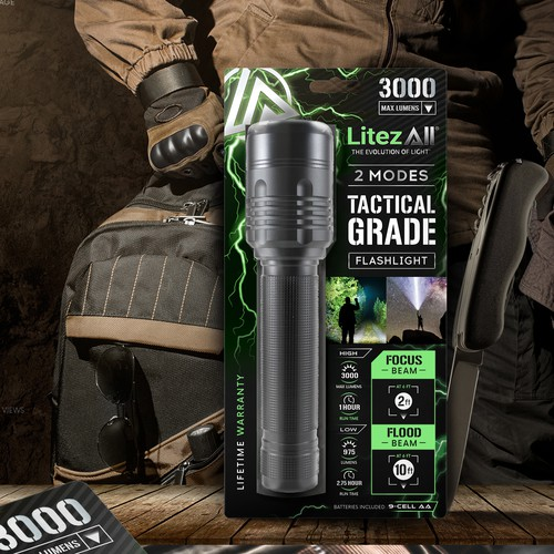 LitezAll tactical grade flashlight label design