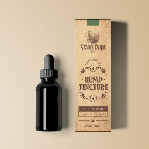 Vintage packaging for CBD tincture