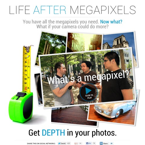 """Life After Megapixels"" campaign landing page. Design for cool new smartphone camera!"