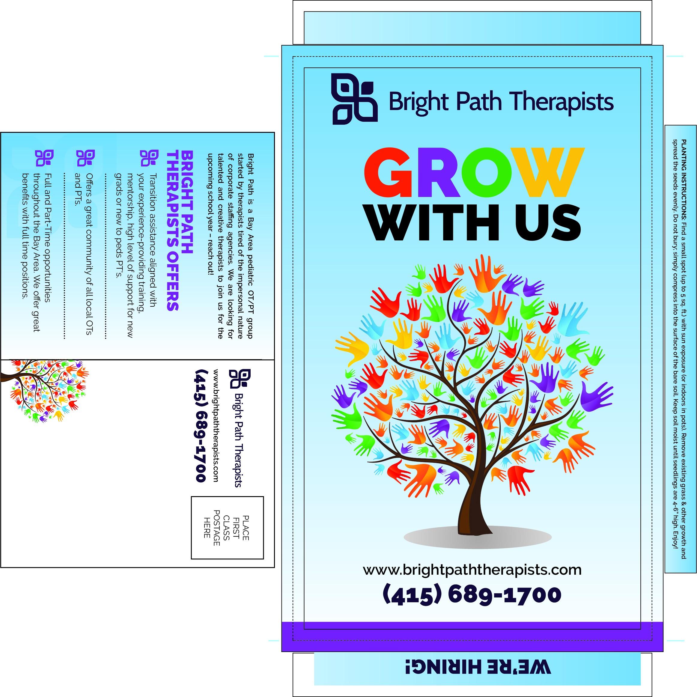 """Grow with Us"" Recruiting Postcard Design"