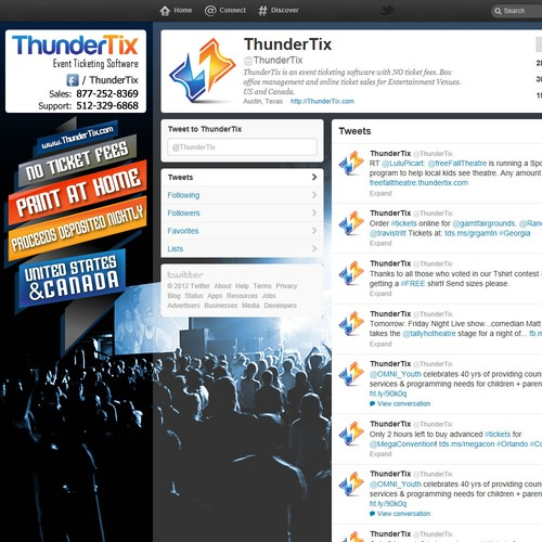 WANTED: Cool Twitter background for ThunderTix