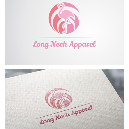 Create a unique yet simple logo of a Flamingo for an apparel company