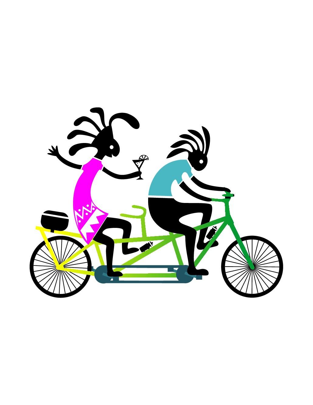 Fun tandem bike logo with kokopelli on bike