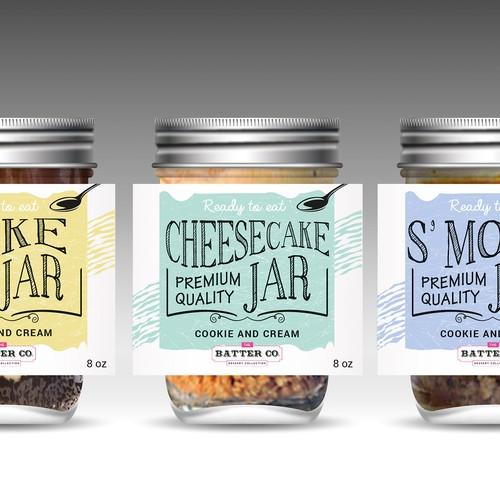Label of dessert jar for shop