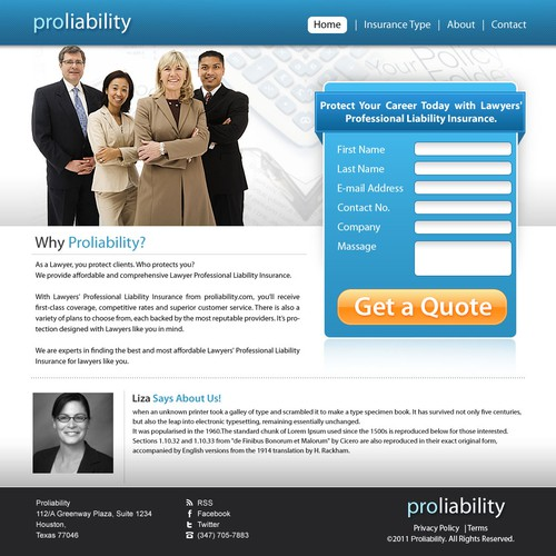 Landing Page design for Proliability.com