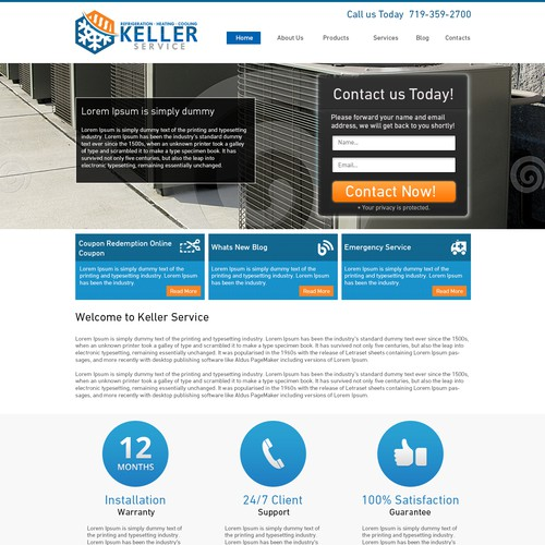 Design a awesome lead generating landing page for Keller Service.