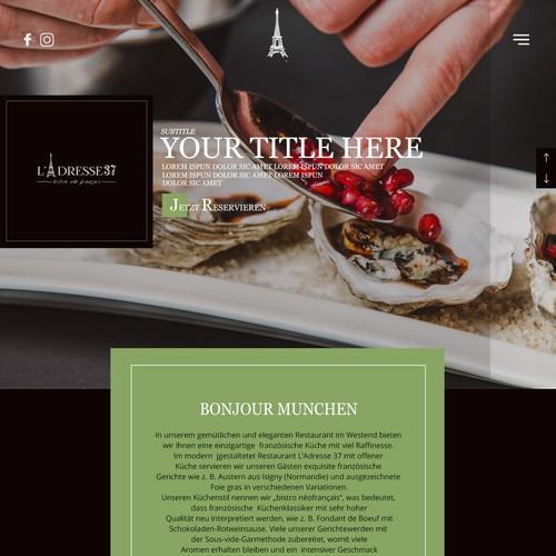 Web design for L'adresse37. The new Neo Bistro francaise in Munchen..