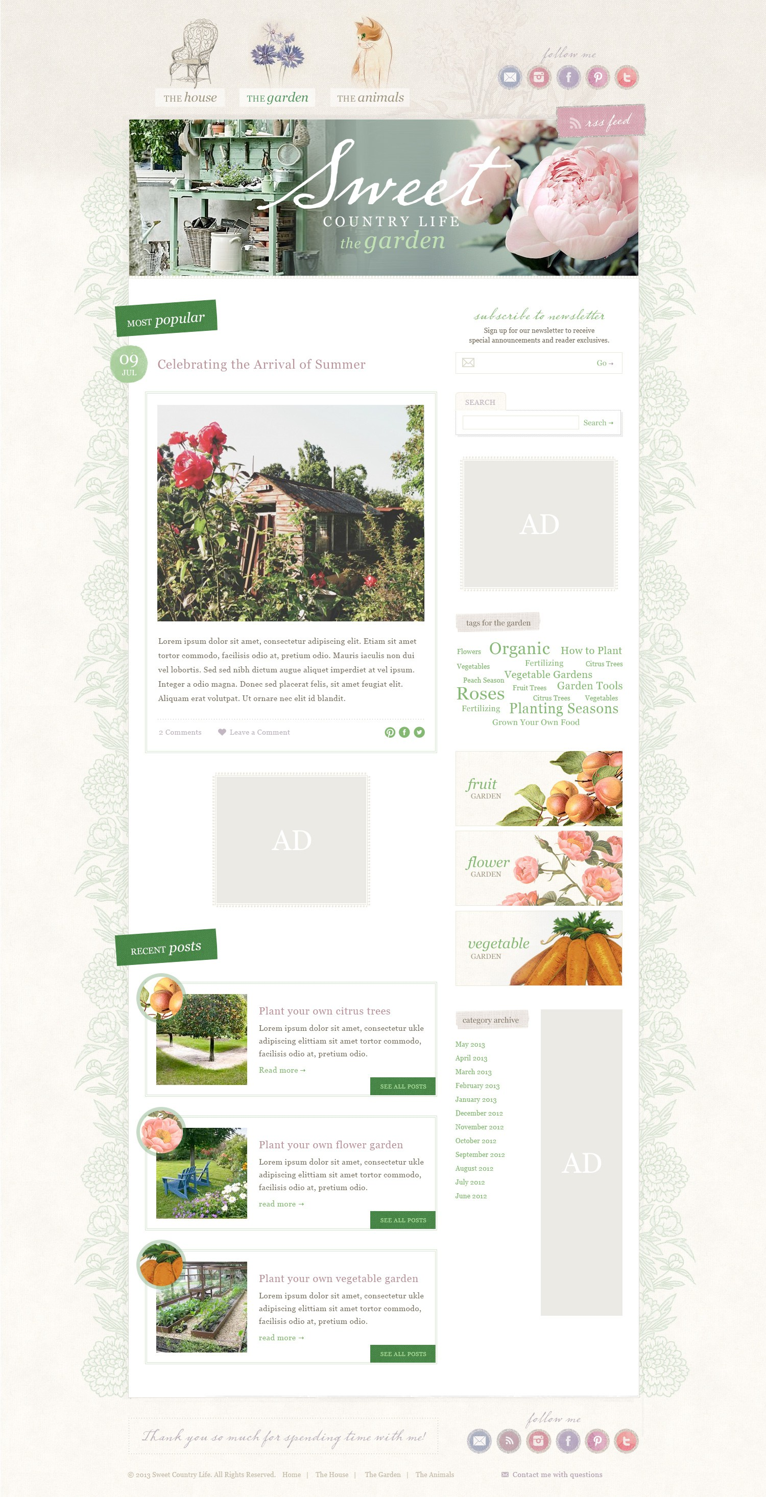 New blog Sweet Country Life needs a superb design