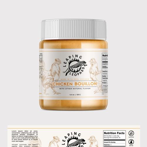 Leaping Leopard Bouillon Label Design