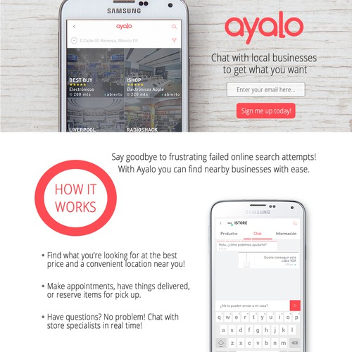 Clean design for app landing page