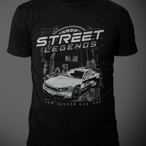 SHIRT DESIGN WITH DRIFTING CARS