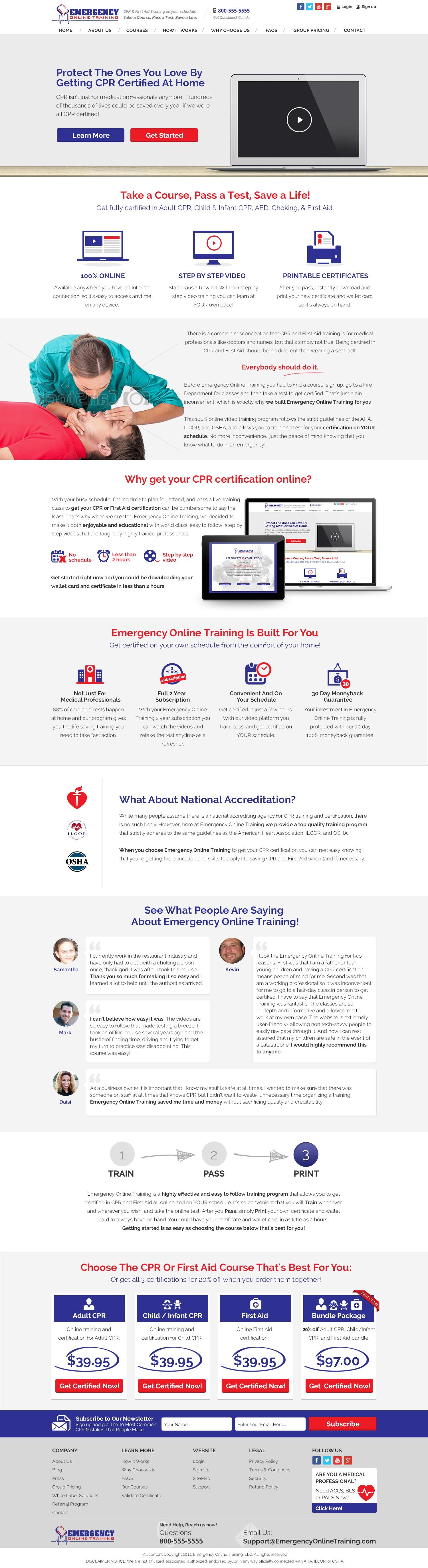 Website Design for Online Medical Training Website