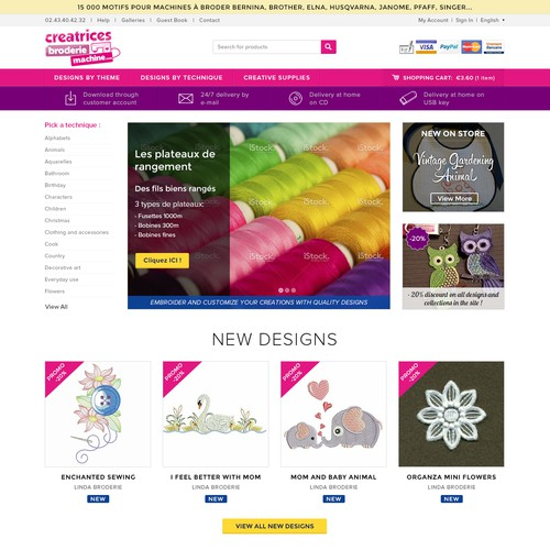 E-commerce designs for embroidery machine