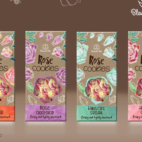 Blossom Bite Flower cookies package design
