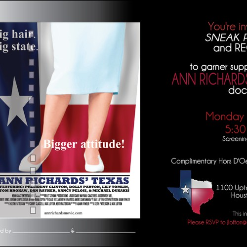 Invitation for Screening and Reception for the Ann Richards Movie