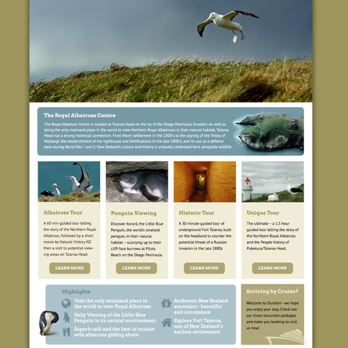 New website design wanted for Royal Albatross Center