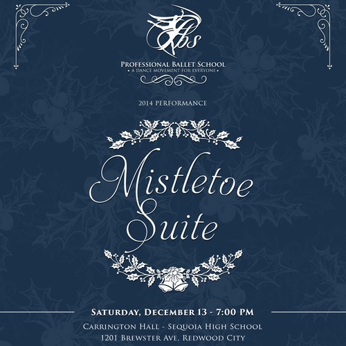 Flyer for a high end dance studio holiday performance
