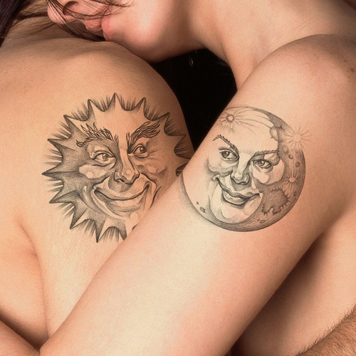 Sun and a Moon Illustration for a couple Tattoo