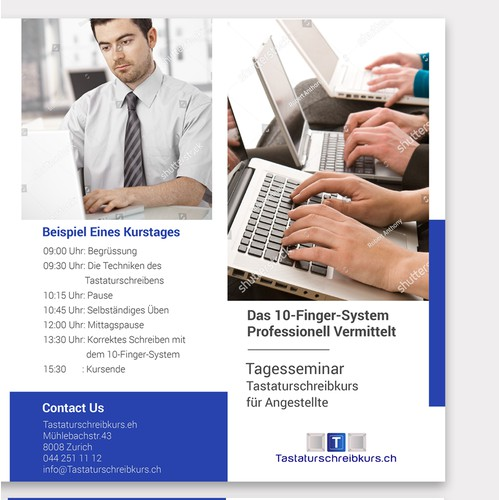 brochure designs for typing course
