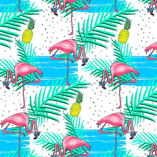 flamingos textile design