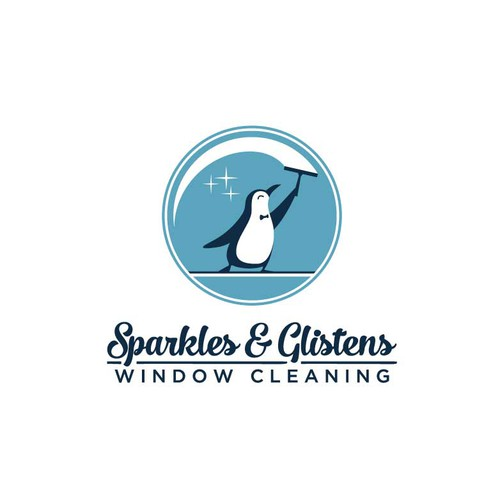 Window-cleaning penguin