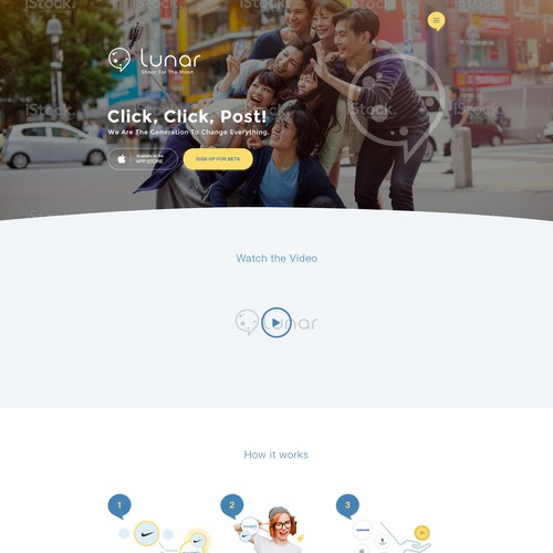 Landing page for a photo sharing app