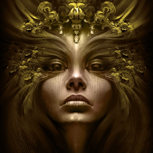 Majestic face of an empress for a fantasy book cover