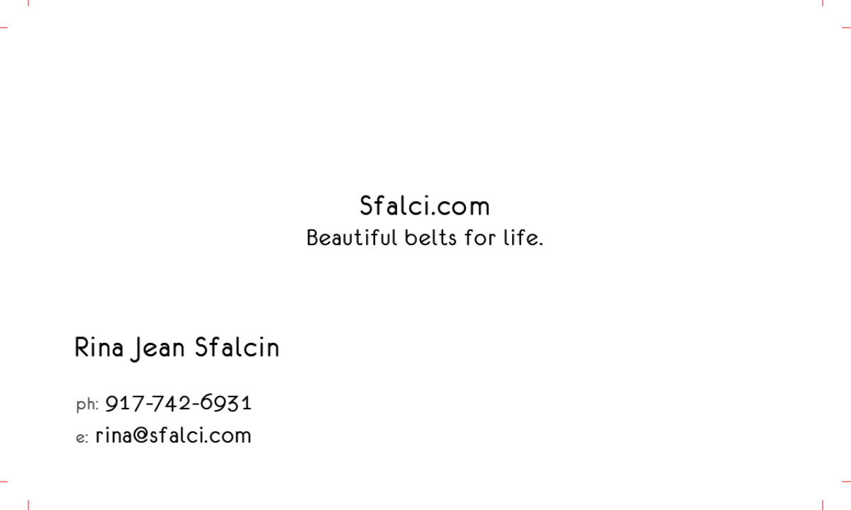 """Business Card for """"Sfalci""""- Direct to consumer luxury leather belts"""
