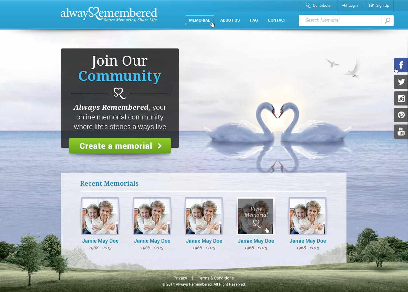 Design the winning homepage for Startup Alwaysremembered.com