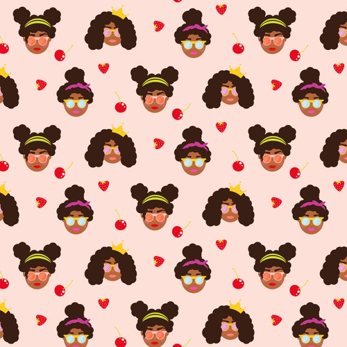 Seamless pattern with cute girls
