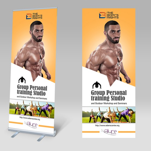 An attractive, high-energy, roll - up banner to be displayed in a Group Personal training Studio