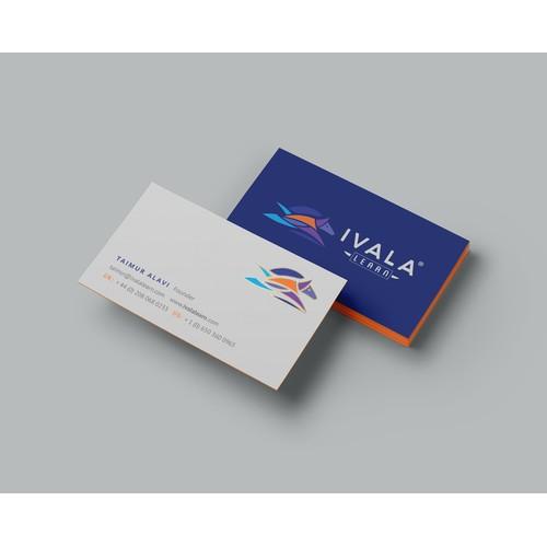 Blue-white velvet business cards for Ivala Learn