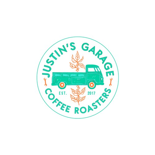 Another logo version for an amazing coffee roasters company from Alameda, California. With their beautiful 1962 Volkswagen single cab truck illustration in it!