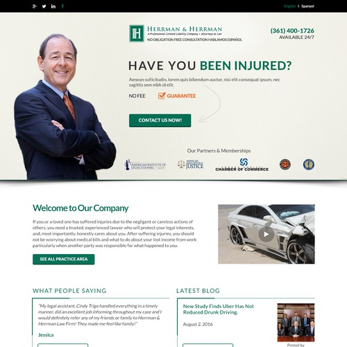"Create a Landing page that will specialize in ""Car Accidents"""