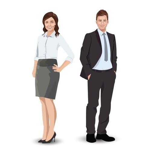 Vector character illustration of Polly & Matt