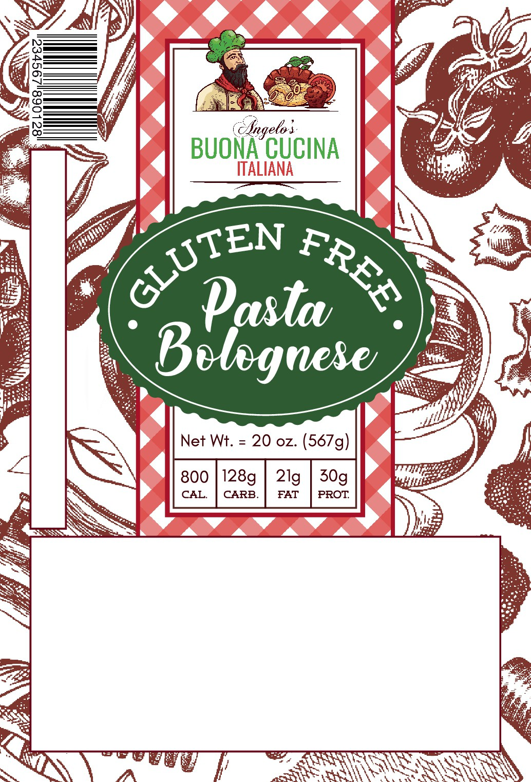 Angelo's Buona Cucina Italiana Food Label (4 in x 6 in ) - Gluten Free