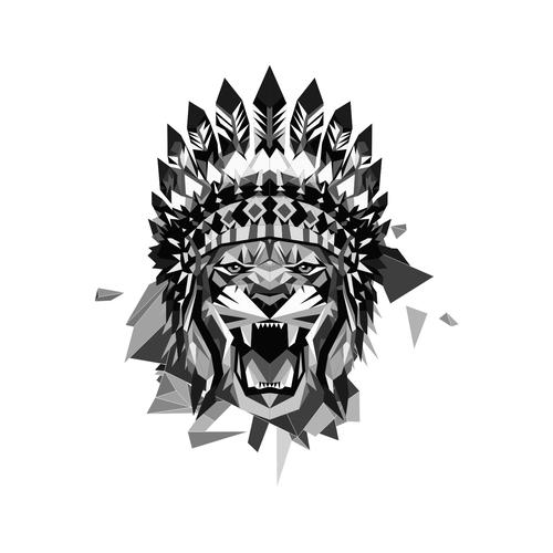 Geometric lion with Indian Headdress.