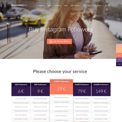 Landing Page Design for Followers365