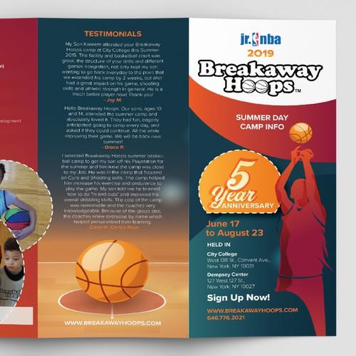 Breakaway Hoops Trifold brochure.