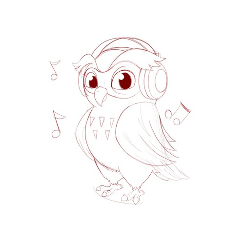 Character Concept for Owl With Headphones