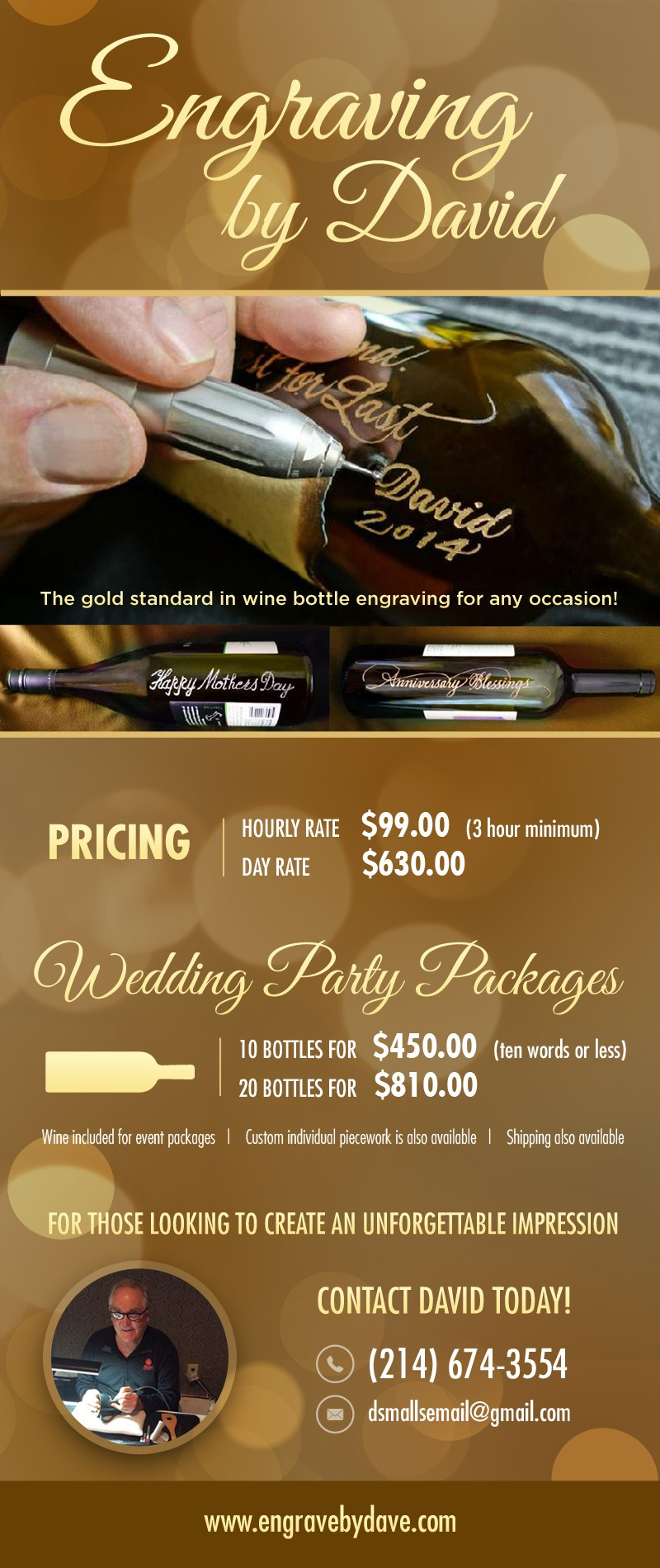 Create an Eye Catching Sales Flyer for a Wine Bottle Engraving Service!  Guaranteed Prize